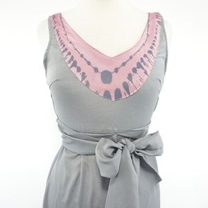 Esley Dresses - Esley Grey and Pink Silky Tie Die Dress